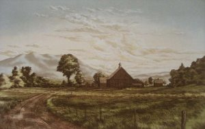 Kathleen Cantin - Valley Farm (15x23 etching on paper)