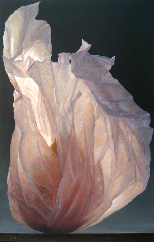 Lorena Pugh oil painting of pear wrapped