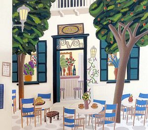 Thomas McKnight - Vengera print of outdoor seating at restaurant in Greece
