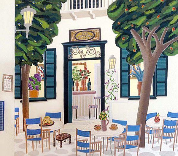 Thomas McKnight - Vengera print of outdoor seating at restaurant in Greece