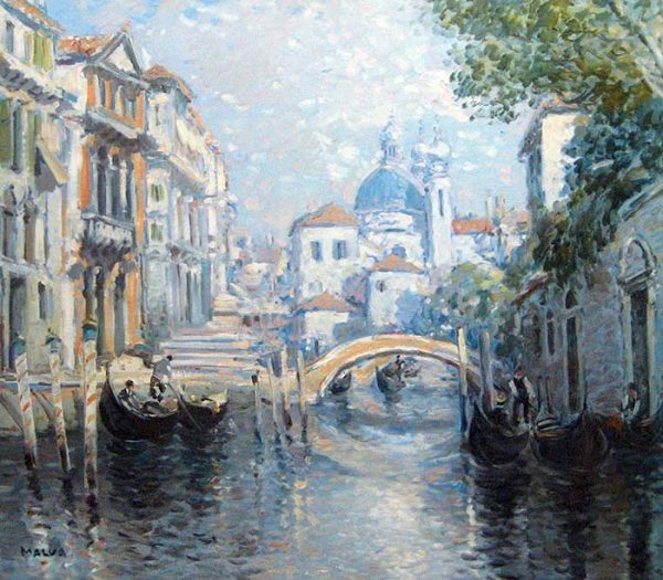 Omar Hamdi Malva - Impressionistic painting of a canal with a bridge in Venice