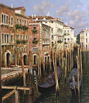 Antonio Sannino Venice painting of gondolas and buildings on canal