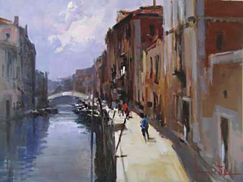 Claudio Simonetti Painting of people on Venice Walkway next to canal and buildings