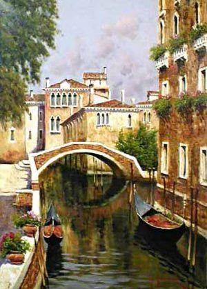 Antonio Sannino Venice Canal painting of bridge over canal with gondolas