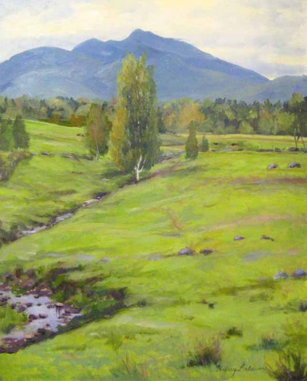 Hilary Baldwin Oil Painting of a Stream and Mountain in Green and Blue