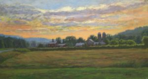 Lynne Adams Vermont Sunset (15x30 oil on canvas)