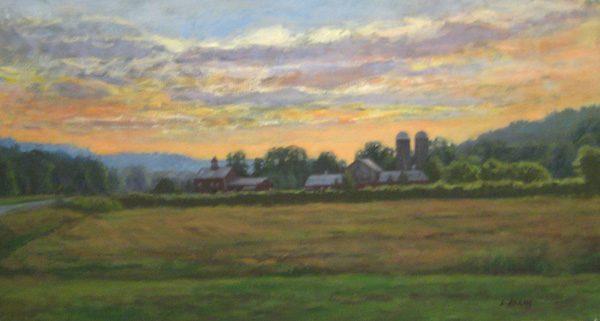 Lynne Adams Vermont Sunset (15x30 oil on canvas)