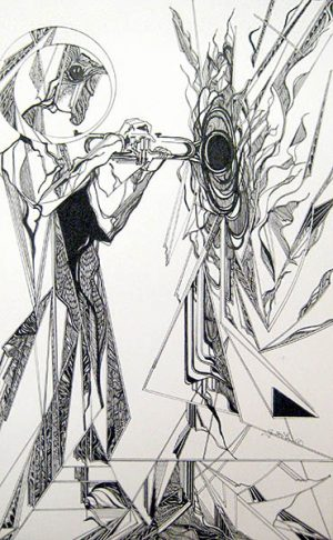 Gary Smith Black and White Pen and Ink Drawing of Jazz Trumpet Player
