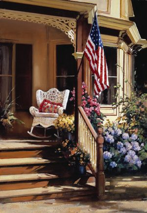 Paul Landry - Victorian Memories Print of home with American flag hanging on porch