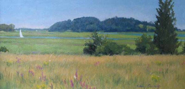 Hilary Baldwin Traditional Oil Painting of a grassy field with a hill