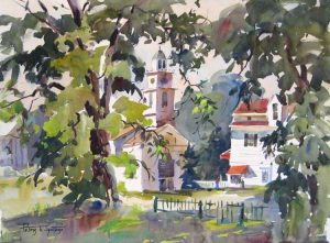 Peter spataro Painting of a new england town center with trees