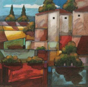Robert Chapman Landscape Cityscape of Houses in Country Villas Nuevas #2 (22x22 acrylic on paper)