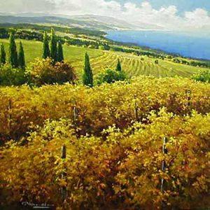 Gerhard Nesvadba - Autumn Vineyard painting of open field and trees by ocean