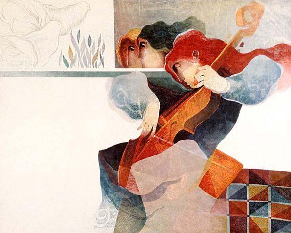 Sunol Alvar - Violin & Cello Suite Lyrique print of women and birds