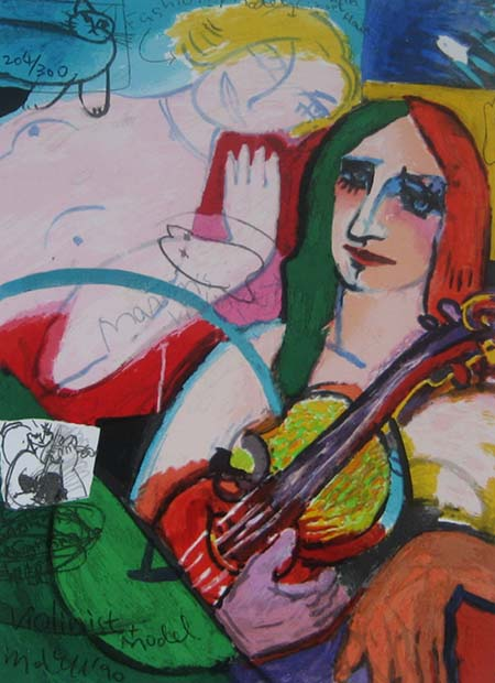 Michael Leu - Violinist & Model (13.5x10 lithograph on paper)