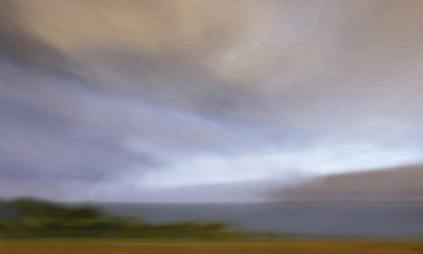Don Scott MacDonald Painting of Contemporary Landscape with Clouds and Horizon in Gray Purple Blue