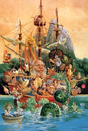 James Christensen - Voyage of the Basset print of ship full of fairytale creatures on water with a mountain behind