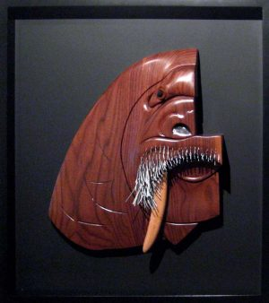 Daniel Jenkins Finished Wood Sculpture of a Walrus Framed