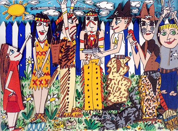James Rizzi - War Games print of kids playing cowboys and indians