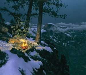Stephen Lyman - Warmed by the View print of campfire on the edge of a snowy cliff overlooking Yosemite National Park
