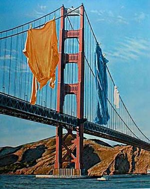 Doug Webb - Wash and Where print of laundry hanging from Golden Gate Bridge