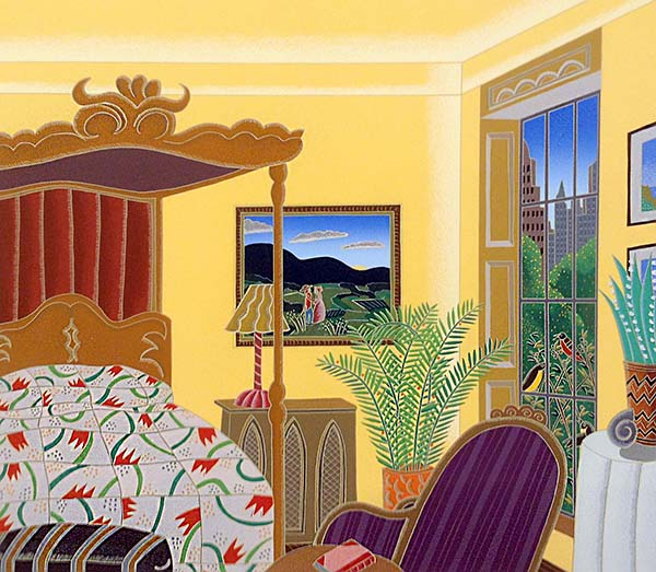 Thomas McKnight - Washington Square Bedroom print of room with canopy bed overlooking park and city
