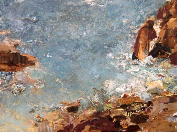 Brenda Cirioni Seascape of Collage and Oil Ocean Waves and Rocks