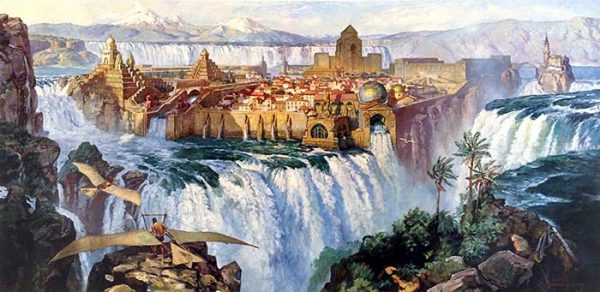 James Gurney - Waterfall City print of two people with gliders in front of walled city on top of waterfall with mountains