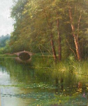 Fortunato Ornaghi Soft Oil Painting of Green Trees on River with Bridge