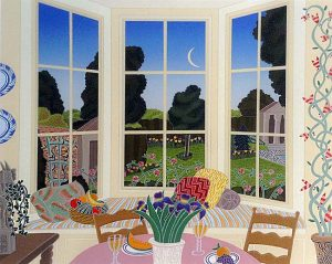 Thomas McKnight - Watermill print of breakfast nook overlooking yard with pool