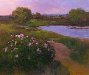 Monique Sakellarios oil painting on canvas of marsh with flowers bushes and grass