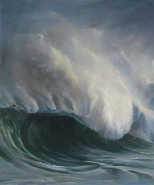 Lorena Pugh Painting of a wave crashing in the ocean