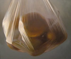 Lorena Pugh Painting of pears suspended in a plastic bag
