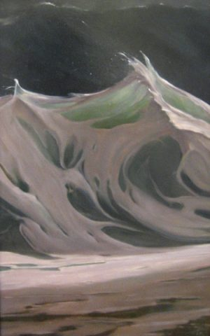 Painting of a wave with foam by Lorena Pugh