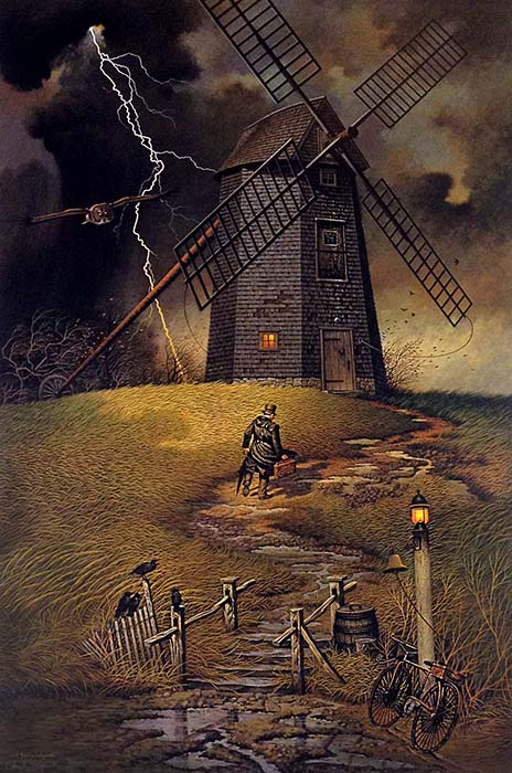 Charles Wysocki - Wednesday Night Checkers print of man climbing steps to windmill during thunderstorm with lightening