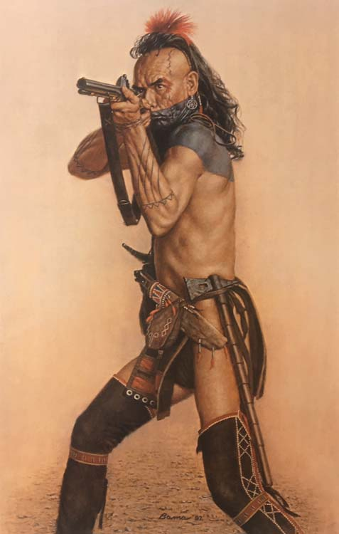 James Bama - Wes Studi as Magua from 'The Last of the Mohicans' print of native american man with rifle
