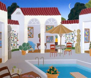 Thomas McKnight - Westhampton print of courtyard with pool and sculptures