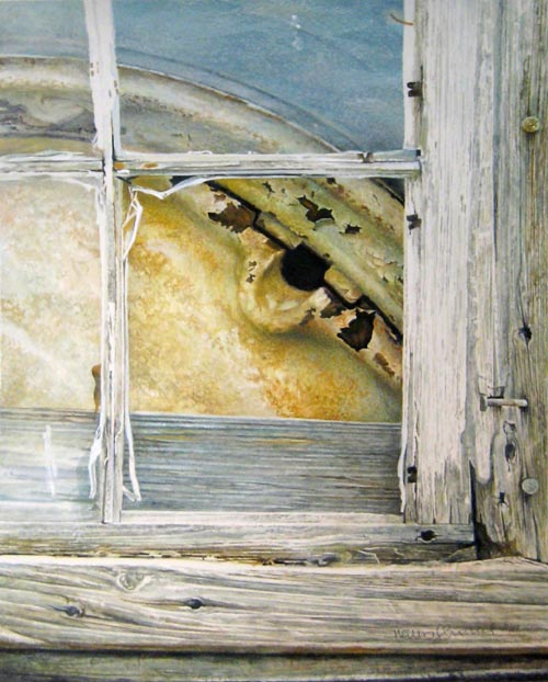 Walter Kessel Realistic Pen and Ink Drawing of Tracker Tire Behind Window of Shed