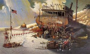 Charles Wysocki - Where the Bouys Are print of an old boat on the beach with a man napping