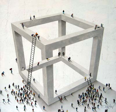 Craig Alan surreal geometric painting with small people