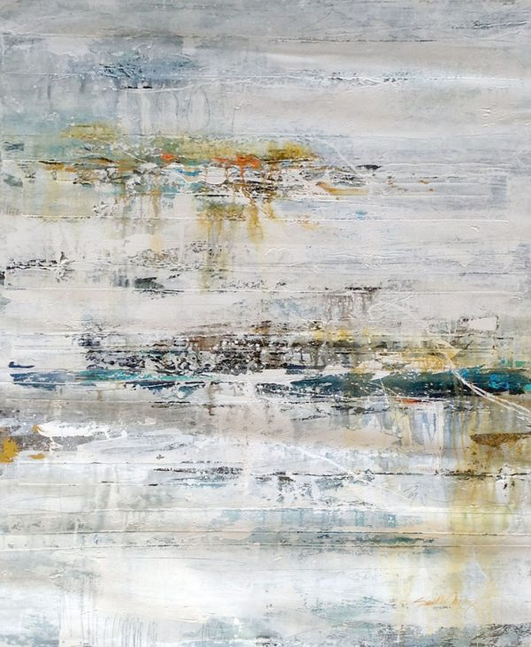 Dennis Smith Carney Vertical Abstract Oil on Canvas of White and Blue and Brown Beige