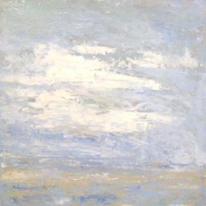 Leah Mitchell Impressionist Seascape with White Clouds and Beach on Board