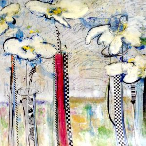 Helen Zarin Contemporary Abstract Floral Oil Painting of White Daisy Flowers In Vases