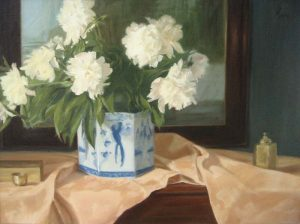 Painting of white peonies on a table with brass objects