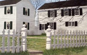 Carol Collette etching on paper of white post picket fence in small town america