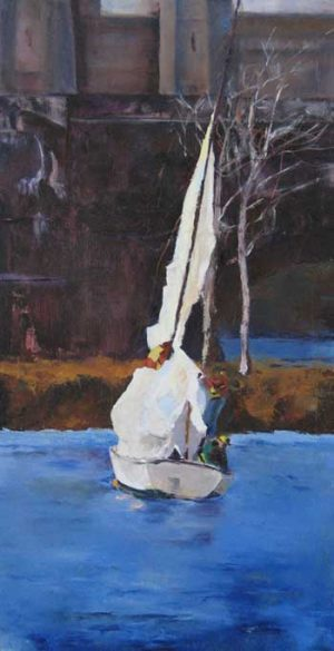 Pat Foster - White Sail - Painting of a sailboat on the Charles River