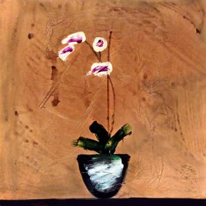 David Jackson - White and Purple Orchids painting of orchids in a vase on a metallic copper background