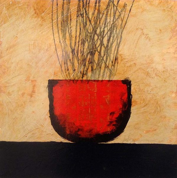 David Jackson Oil Painting on Paper with Reeds in Red Pot