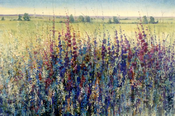 Timothy OToole Contemporary Landscape painting on Canvas of Wildflowers Purple Blue Green