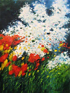 Gerhard Nesvadba - Wild Flowers expressive oil painting on canvas